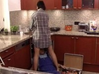 Lewd Housewife Provoke Repairman With Smell Of Hairy Wet Pussy
