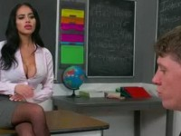 Nervous Student Sweating Beside His Hot Teacher