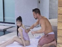Wet Big Tit Asian Bebe On Cock In The Pool