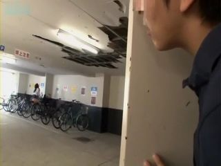 Horny Japanese Teen Busted Humping Her Bicycle Gets Fucked By Spying Guy