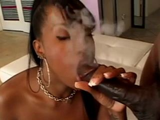 Sexy Ebony Babe Blows Cock Till Cum While Smokes Cigarette