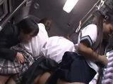 Frightened Japanese Schoolgirls Gets Groped And Fucked In A Bus By An Old Pervert On Their Way Home - part 1