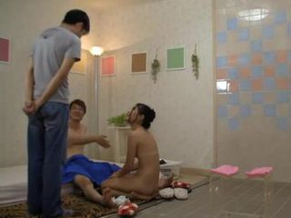 Son Walks On His Dad Showing New Maid Her Duties