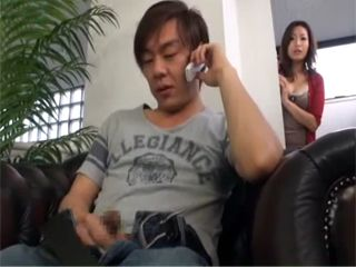 While Talking On The Phone And Jerking Guy Didnt Notice His Stepmom Spying On Him