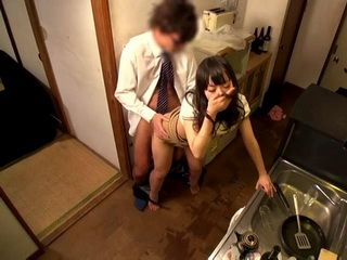 After Her Husband Went To Sleep Horny Japanese Wife Fucked Her Neighbor In A Kitchen