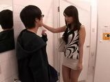 Japanese Boy Couldnt Escape Intrussive Girl In A Public Toilet