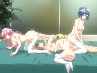 Hentai Maids Foursome Fucking With Their Master