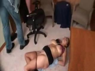 Big Boob Milf School Principal Gets Fucked In Her Office By Student And His Dad