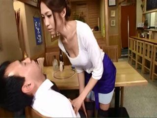 Japanese Waitress Decided To Take Advantage Of A Guest In A restaurant After Exhausting Shift