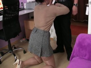 Perfect Secretary Keeping Her Boss Happy Between Appointments