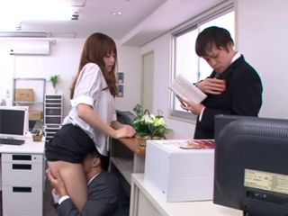 Japanese Secretary Having Hard Time talking To Her Boss While Being Pussy Eaten By Her Colleague Under The Desk