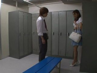 Japanese Substitute Teacher Alice Miyuki Gets Cornered By Her Student IN A Locker Room