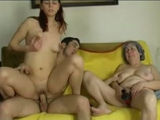 Young boy fuck very old granny with her girlfriend on couch