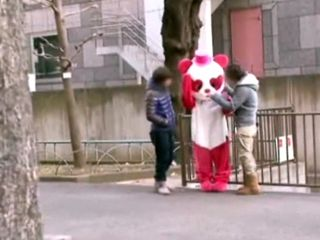 Mascot Girl Gets Fucked By Two Guys Who Took Her Home And Hard Fucked