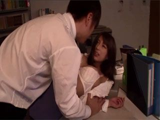 When Busty Japanese Nami Hoshino Went Back To Office To Pick Up The Phone She Forgot Her Colleague Took Advantage Of Her