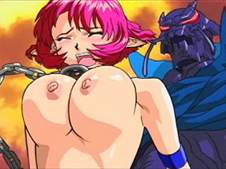 Chained Hentai Gets Squeezed Her Bigtits And Monster Fucked