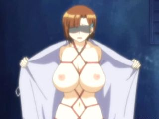 Tied Hentai Blindfold Dildoing Her Wet Pussy