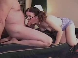 Nerdy Mature Masturbating And Sucking Cock