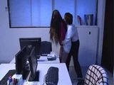 Hina Akiyoshi Came To See Her Husband In The Office But Finds His Colleague Who Forced Her To Suck His Dick