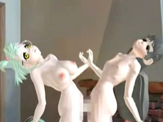 3D hentai with bigboobs strapon hard fucking and squirting cum