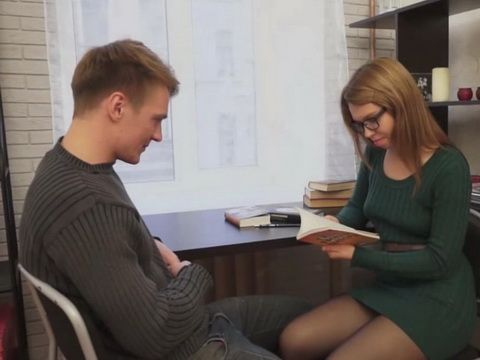 Nerdy Hot Teen Gets Fucked In College Library