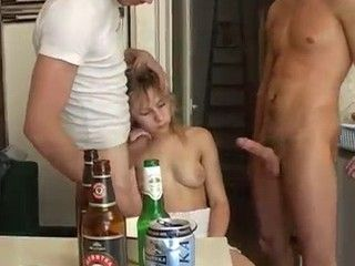 Two Guys Fucked Drunk Teen and Cuming All Over Her Body and Face