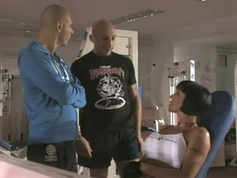 Milf Gets Gangbanged And Anal Fucked By Two Muscular Guys in The Gym