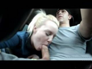Hot Blonde Gives Road Head
