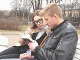 While Nerdy Girl Study In The Park Naughty Boy Came And Explane Her Everything