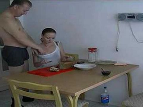 Old Father Swoopwed Sons Teen Girlfriend Early In The Morning In The Kitchen While His Son Is Taking A Shower