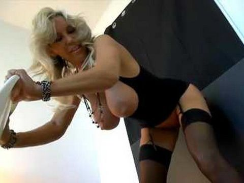 Smoking Hot MILF Wife With Huge Juggs Fucks Dildo Attached To A Wall And Gets Messy Facial