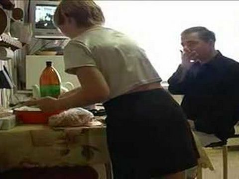 Every Morning Perverted Stepdad Loves To Spice Up Breakfast With Teen Daughters Pussy