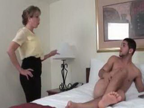 Stepmother Caught Her Stepson While Jerking Off And Help Him To Finish What He Started