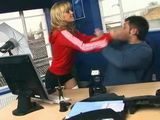 Busty Hottie Beats And Fucks Guy In His Office