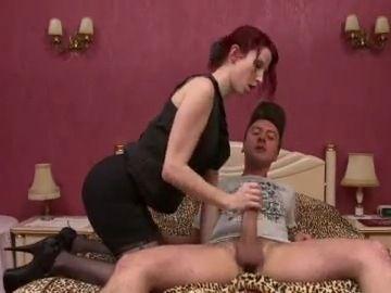 Redhead European Milf Boss Fucks Boy With Large Cock