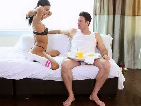 Sexy Girl Served Guy Special Dessert For Breakfast