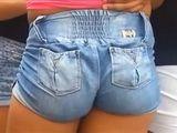Girl Wearing Tight Jean Shorts