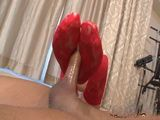 Foot Job Wearing Hot Red Stockings