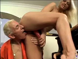 Busty Blonde Bitch With A Strapon Fucks Old Man