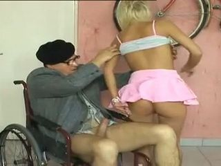Perverted Grandpa In Wheelchair Fucks Grandsons Gf In Ass