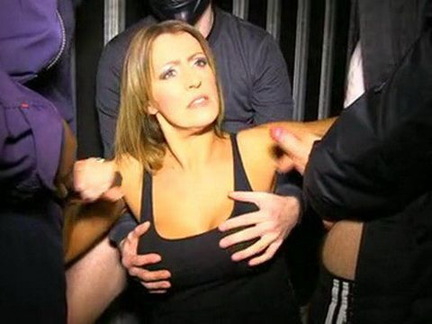 Busty Slut Gives CFNM Blowjob To Group Of Guys