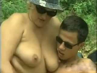 Granny Fucking Grandsons Friend In The Woods