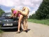 Busty Blonde Fucked By The Car
