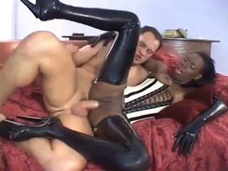 Dark Skin Slut In High Heels Boots Assfucked By White Man