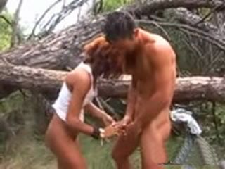 Arab Girl Fucking and Sucking Cock In The Forest