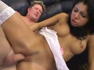 Brunette In White Nylons Fucked And Gets Pussy Filled With Sperm