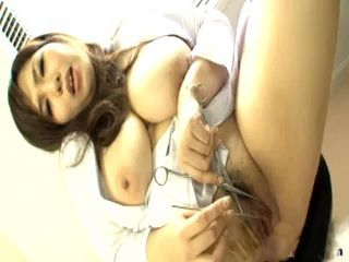 Thick Asian Doctor With Big Tits Masturbating In Office