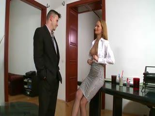 Horny Secretary Suddenly Start Undressing Only For Bosses Eyes