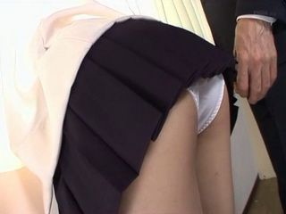 Bent Over Flashing Ass Of Cute Schoolgirl Sato Airi Attracts Attention Of Old Professor