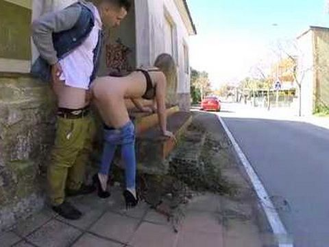 Busty Whore Fucks A Guy On The Street In A Broad Daylight